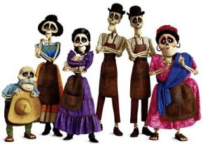 "FUNNY BONES – In Disney•Pixar's ""Coco,"" several members of the Rivera family call the Land of the Dead home, including (from L-R): Miguel's great-grandfather Papá Julio (voice of Alfonso Arau), Tía Victoria, family matriarch and Miguel's great-great-grandmother Mamá Imelda (voice of Alanna Ubach), identical twin uncles Tío Oscar and Tío Felipe (both voice of Herbert Siguenza) and Tía Rosita (voice of Selene Luna). Directed by Lee Unkrich, co-directed by Adrian Molina and produced by Darla K. Anderson, Disney•Pixar's ""Coco"" opens in U.S. theaters on Nov. 22, 2017. ©2017 Disney•Pixar. All Rights Reserved."
